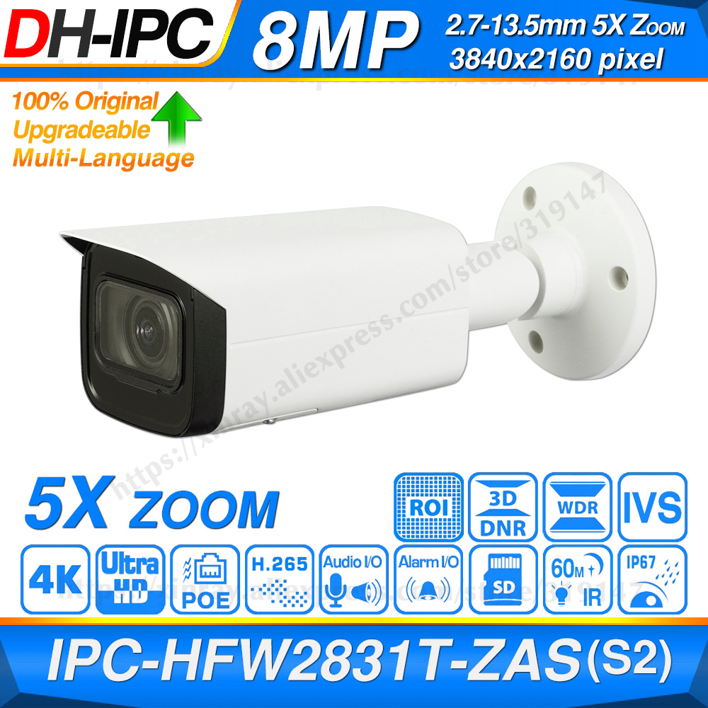 Dahua Original IPC-HFW2831T-ZAS-S2 8MP 4K 5X Zoom POE SD Card Slot Audio Alarm I /O H.265+ 60M IR IVS IP67 Starlight IP Camera