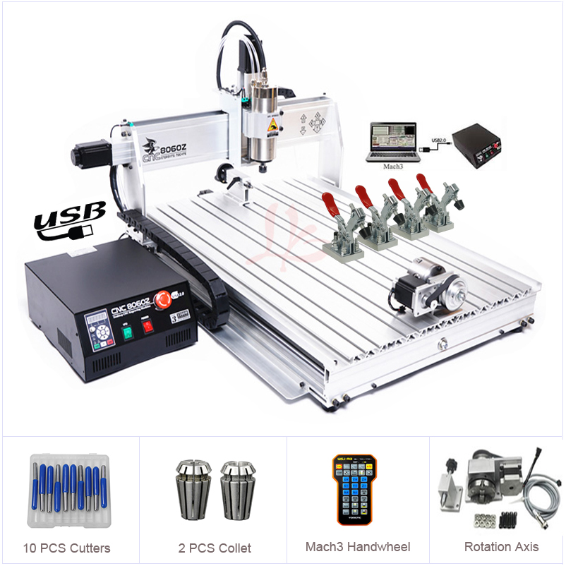 4Axis USB Port CNC 8060 2.2KW Spindle March3 ER20 Collet CNC Router 3D Metal Cutting Machine Aluminum Engraver CNC Wood Milling