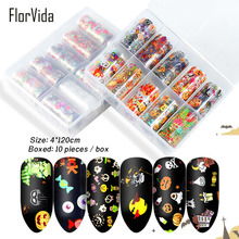 FlorVida Christmas Style Nail Foil Decoration Halloween Pumpkin Design Beauty Wrap Nails Sticker Art