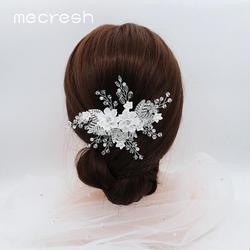 Женская расческа для волос Mecresh, белая Расческа с цветами, свадебные аксессуары для волос, украшение для волос, FS333