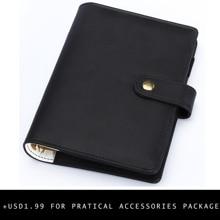 A5 Planner A6 Binder Personal Organizer Refillable Notebook  PU Leather Agenda Spiral Binder Black Organizers