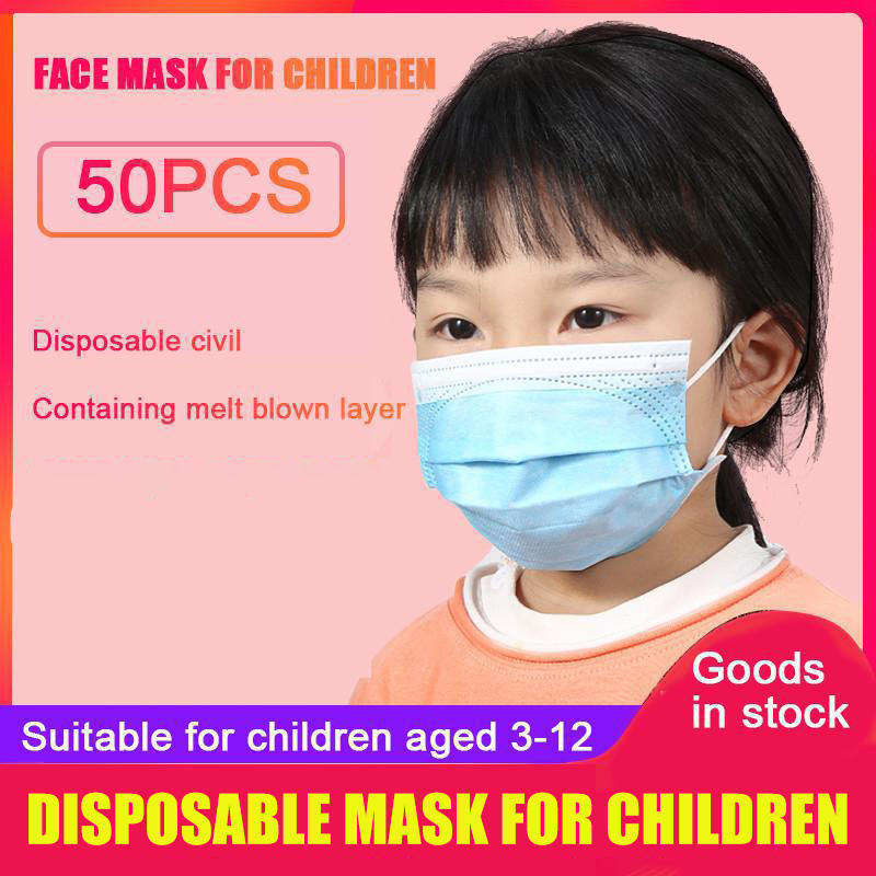 50pcs Disposable Mouth Mask Non-woven 3 Layer Ply Filter Respirator Filter Breathable Dustproof Children Mouth Face Mask