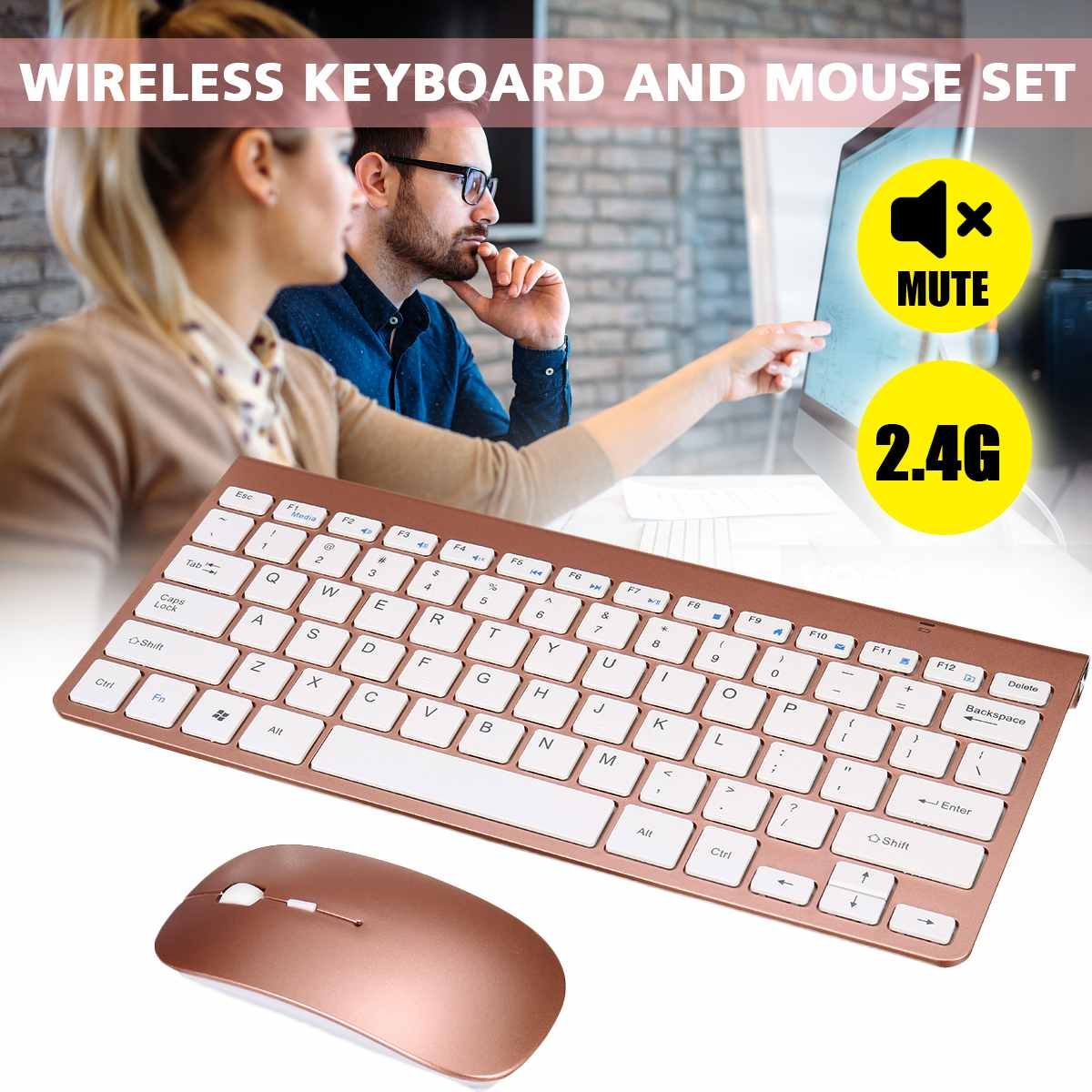 2.4G Wireless Slim Silent Keyboard and Mouse Mini Multimedia Full-size Keyboard Mouse Combo Set For Notebook Laptop Desktop PC