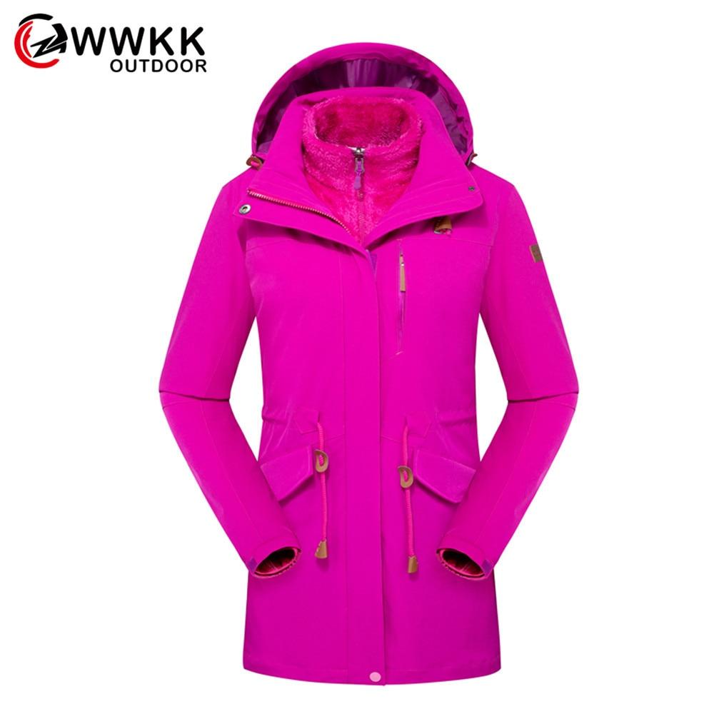 WWKK Hiking Jackets Outdoor Sports Clothes Waterproof Coats Clothing Hooded Camping Trekking Skiing Jacket New Winter Women Warm
