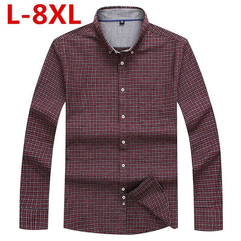 New  8XL 6XL Men Shirt Camisa Masculina Brand Clothing Long Sleeves Camisas Casual Shirt Roupas Masculina Turn-down Collar Shirt