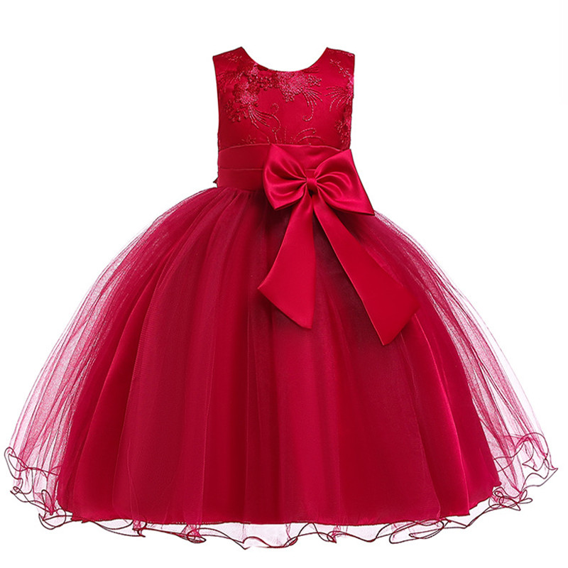 Кружевное платье-пачка с большим бантом и цветами для маленьких девочек бальное платье, элегантное платье для девочек, детская одежда празд...