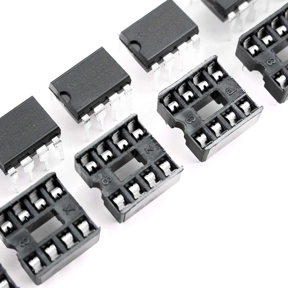 20 Pcs NE555 IC 555 & 8 Pin DIP Soket 10 Masing-masing) IC NE555 dan Soket DIP8 Diy untuk Arduino Starter Kit