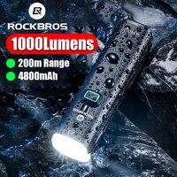 ROCKBROS Fahrrad Licht 1000Lumen 4800mAh Bike Scheinwerfer Power Bank Taschenlampe Lenker USB Lade MTB Radfahren Front LED Lampe