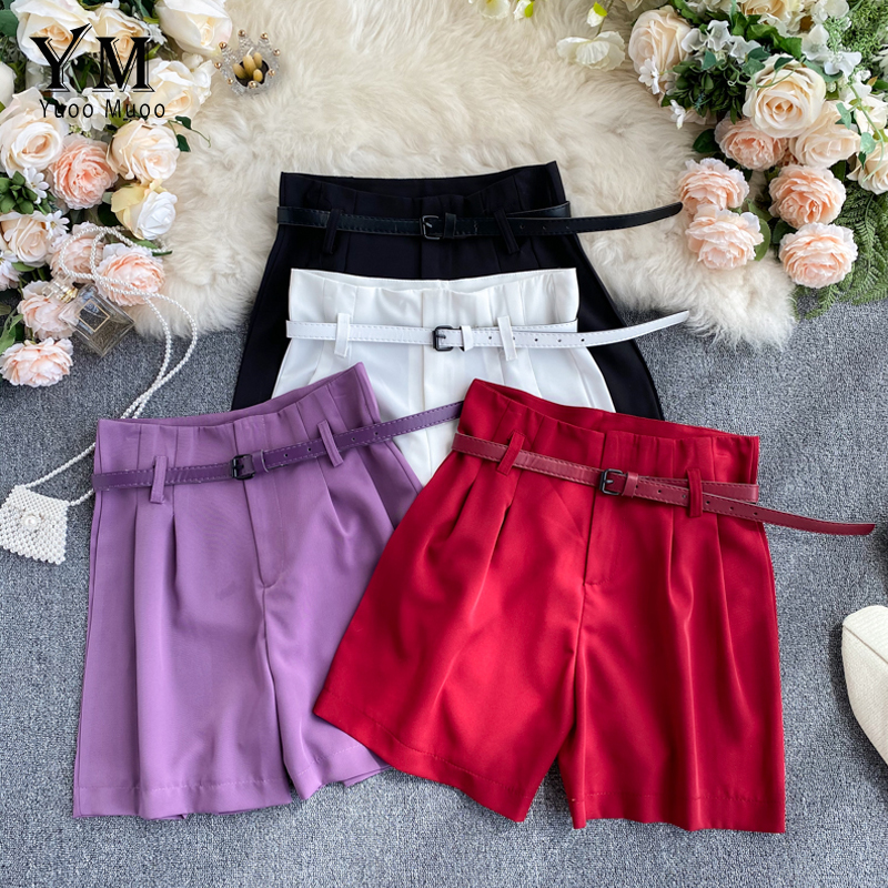YuooMuoo Casual Solid Women Summer Shorts High Waist Female Shorts Office Work Ladies Belt Shorts Streetwear Bottoms