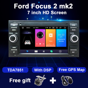 Android 2 Din Car Radio GPS For Ford Focus 2 MK2 Fiesta Mondeo 4 C-Max S-Max Fusion Transit Kuga Multimedia Player Navigation image