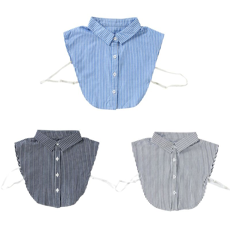 Stripes Pointed Lapel Fake Collar Plaid Half Shirt Necklace Choker With Buttons Hot New