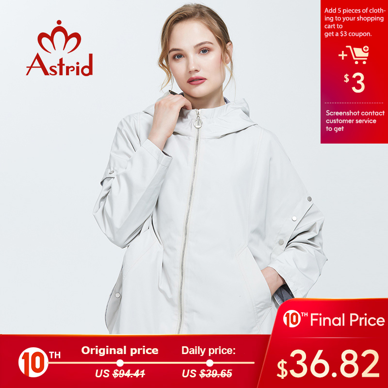 Astrid 2019 Trench Coat Autumn New Women's Casual Trench Coat Solid Color Fashion Trench Short Coat For Women Clothing AS-6139