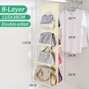 8 bolso de bolsillo, bolso de almacenamiento, bolso de mano, bolso plegable, colgante, transparente, de doble cara, organizador de guardarropa colgador de armario