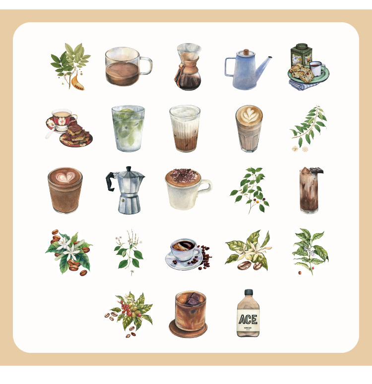 45pcs/pack Vintage Rooftop Coffee Shop Stickers Set Scrapbooking Stickers For Journal Planner Diy Crafts Scrapbooking Diary 6