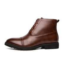 Leather Men Winter Shoes Fashion Boots Pointed Toe Mid-Calf For Male 3#15/15D50