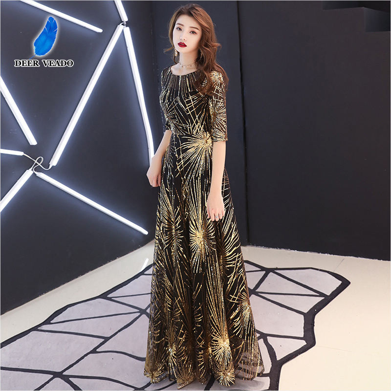DEERVEADO M266 Elegant A Line Sequins Long Prom Dresses 2020 New Arrival Occaison Party Dresses For Woman Prom Gown