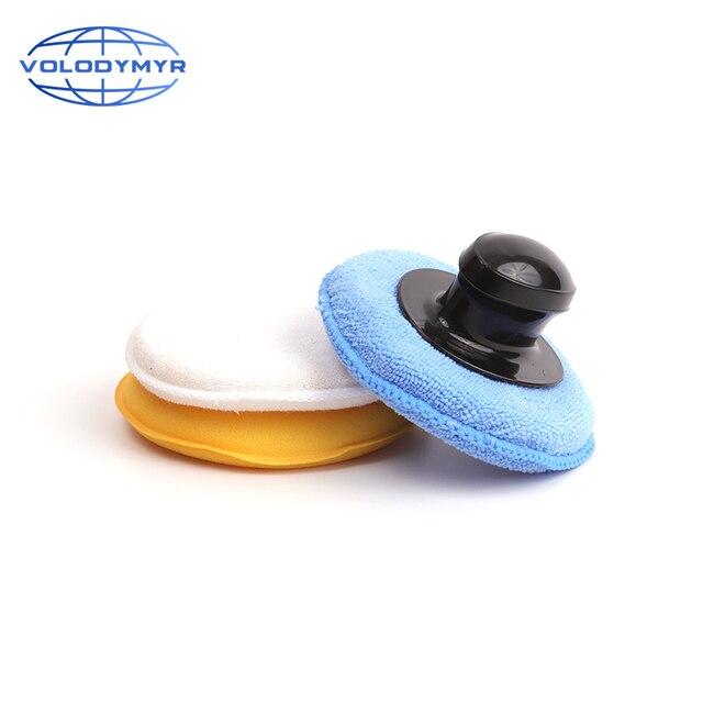 Volodymyr 왁스 패드 키트 3pcs 13cm 패드 세트 옐로우 블루와 화이트 포함 자동 케어 자세히 왁싱 자동차 청소 Carwash