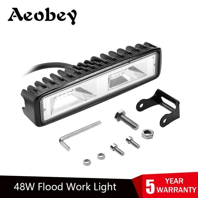 Aeobey 1pcs LED פנסי 12V עבור אוטומטי אופנוע משאית סירת טרקטור קרוואן Offroad עבודה אור 48W LED עבודת אור זרקור