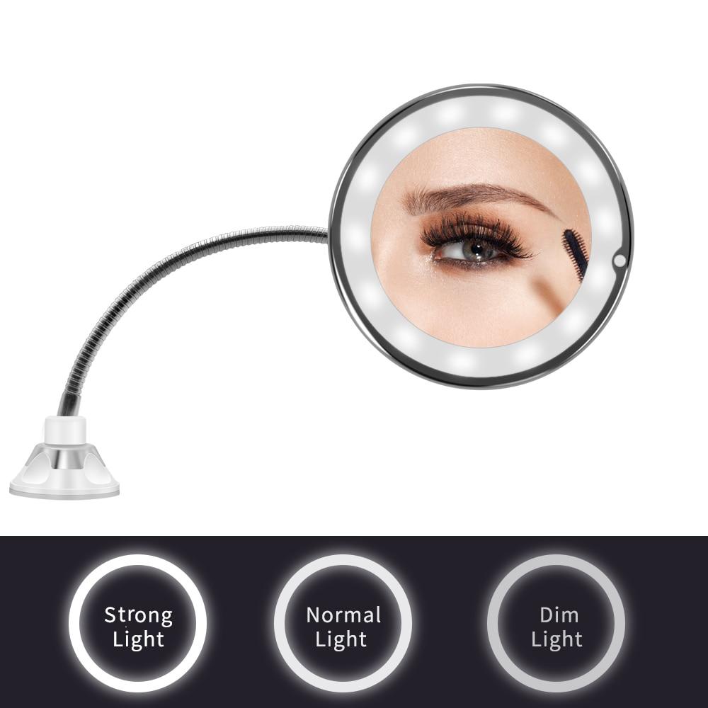 10X LED Mirror Makeup Mirror Flexible Mirror illuminated Magnifying Vanity Mirrors with Light Make up Miroir Bathroom Mirrors 9