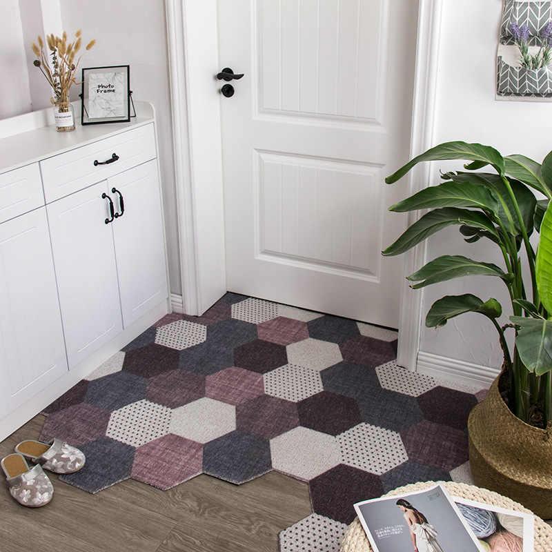 bricolage porte tapis tapis coupe irreguliere soie boucle porte d entree exterieure pied paillasson motif hexagonal anti derapant impermeable tapis de