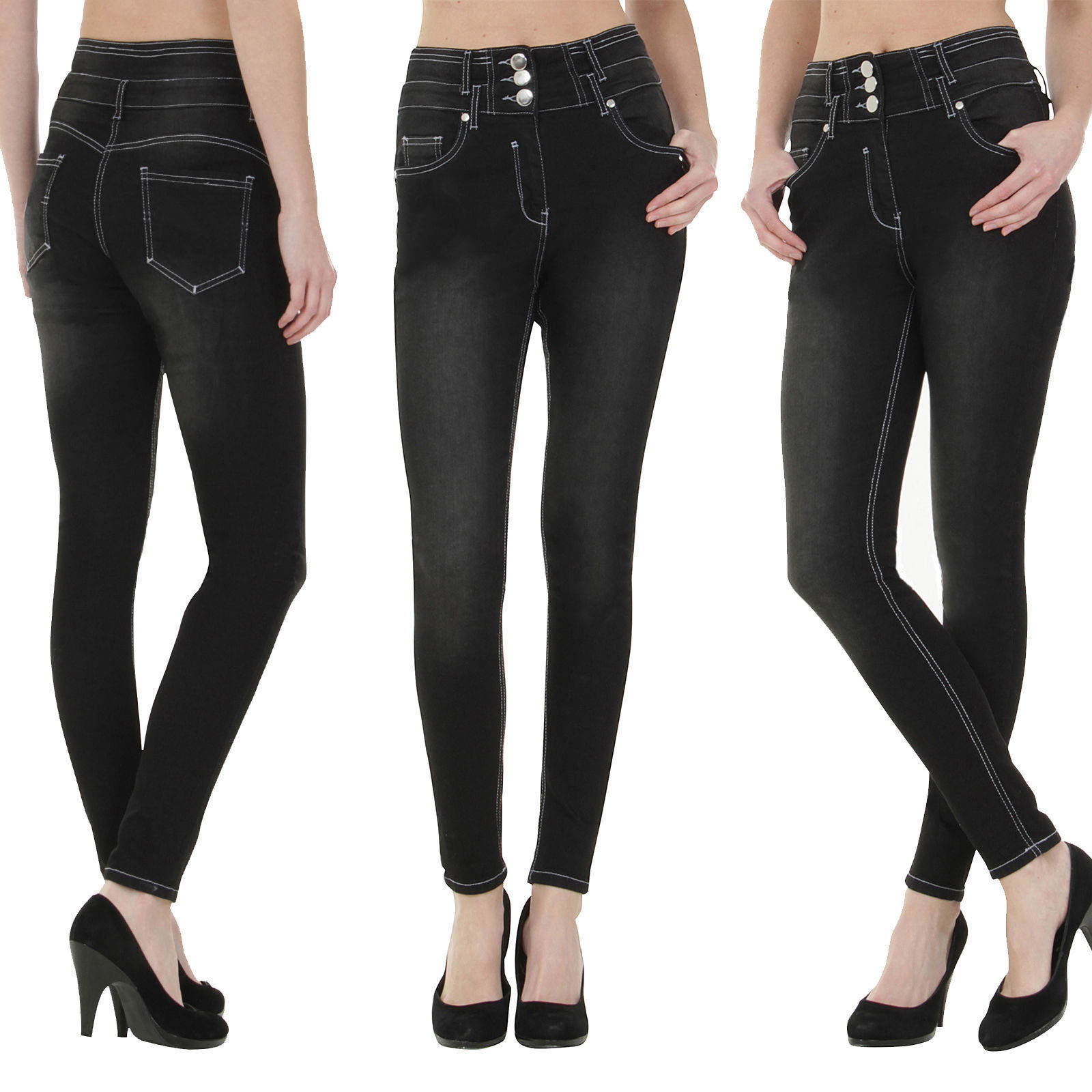 High Waisted Stretch Pencil Jeans Women Solid Color Button Fly Pocket Mom Jean Pants Female Soft Vintage Skinny Denim Trousers