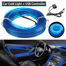 4m car led strips auto decoration atmosphere lamp 12v flexible neon el wire rope indoor interior led car light Car Interior Lighting 3m USB port Strips Auto LED Strip Garland EL Wire Rope Car Decoration Neon LED lamp Flexible Rope Tube CSV