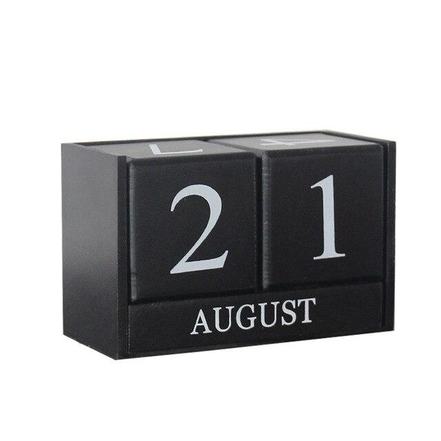 Wooden Perpetual Desk Calendar Block Planner Permanent Desktop Organizer DIY Agenda Table Decoration Vintage Home Decor 5