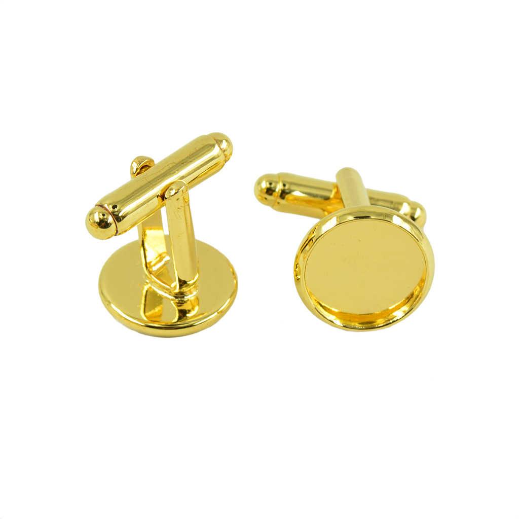 10Pcs Alloy Blank Cufflink Glue Pad Round Bezel Cuff Link Fit 12mm Jewelry
