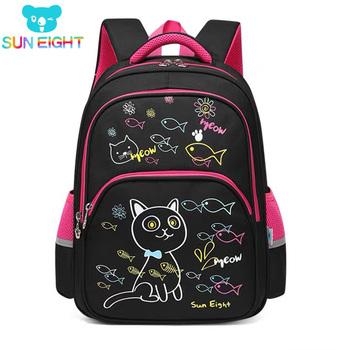 SUN EIGHT Lovely Cat New Arrival Girl plecaki szkolne torby szkolne dla małych dziewczęcy tornister torby dla dzieci 3-4 klasy tanie i dobre opinie CN (pochodzenie) NYLON zipper Backpack 0 8kg 40cm Cartoon 2686 Dziewczyny 14cm 29cm