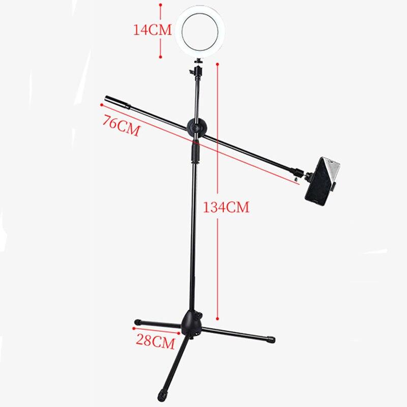 Support réglable de tir d'angle élevé de téléphone portable de photographie avec le bras de Boom trépied léger d'anneau de Bluetooth pour la prise de vue de Photo/vidéo - 2