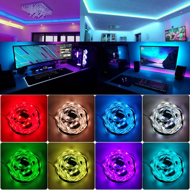 Led Strip Light 2835 Rgb Music Lights Sync Color Changing Sensitive Built-in Mic App Controlled Led Strip Rope Lights Can Be Repeatedly Remolded.
