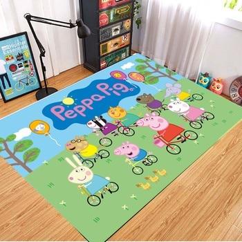 Peppa Pig Anti-slip Flannel Mat Peppa Door Mat Kid Room 3D Cartoon Floor Mat Washable Kitchen Bathroom Carpet Christmas Gift 3