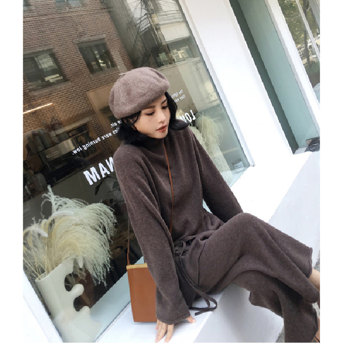 Plus Size Knitted 2 Piece Sets Outfits Women Turtleneck Pullover Sweaters And Wide Leg Pants Suits Autumn Winter Elegant Sets 35