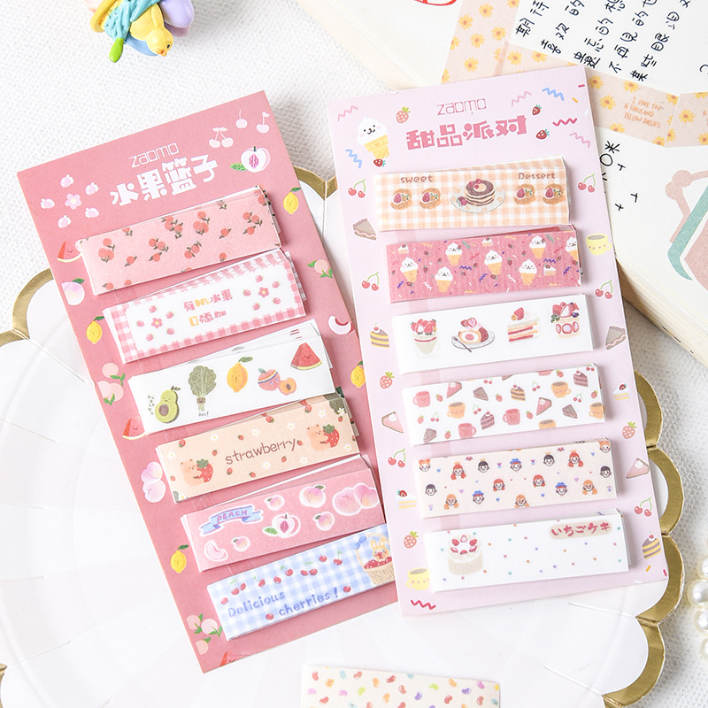 1Pack Cute Rainbow Snack Dessert Flower Fruit Memo Pad Sticky Notes Notepads Student Paper Stationery School Office Supply