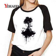 Fashion Women Gym T Shirts Black Ink Tree Graphic Printed Tees Short Sleeve Girls White Casual Tops S-3XL(China)