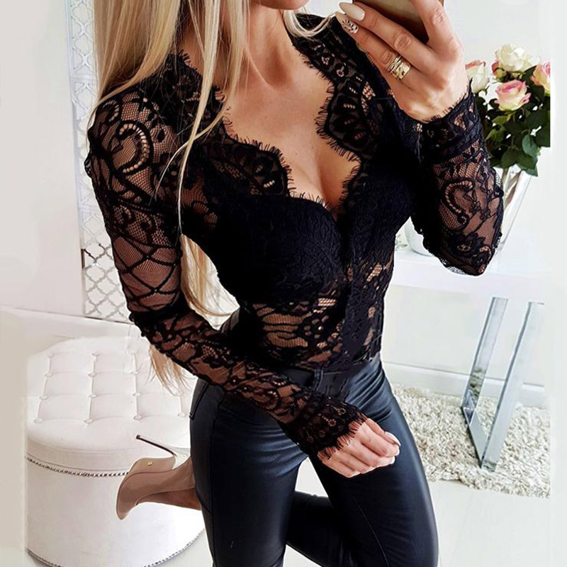 Hollow Out Bodysuit Women Body Suit Mesh Lace Sexy Long Sleeve Jumpsuit Romper 2019 Fashion Deep V Black Bodysuits Lady Catsuit