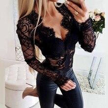Mesh Lace Hollow Out Bodysuit Women Sexy Long Sleeve V-neck Black Bodys