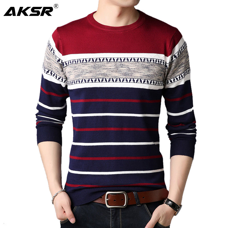 AKSR Men's Fashion Striped Wool Sweater Warm Cashmere Pullover Sweater Jumper Men O Neck Large Size Pull Homme Sueter Hombre