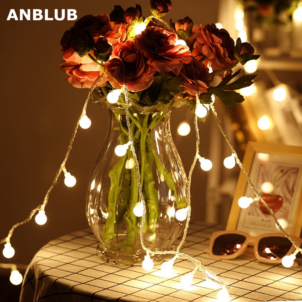 ANBLUB 1.5M 3M 6M 10M LED Globe String Lights Ball Fairy Garland Warm White For New Year Outdoor Christmas Wedding Decoration