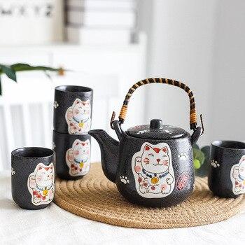 TANGPIN ceramic teapots with 4 cups lucky cat porcelain tea set Maneki Neko chinese tea set drinkware
