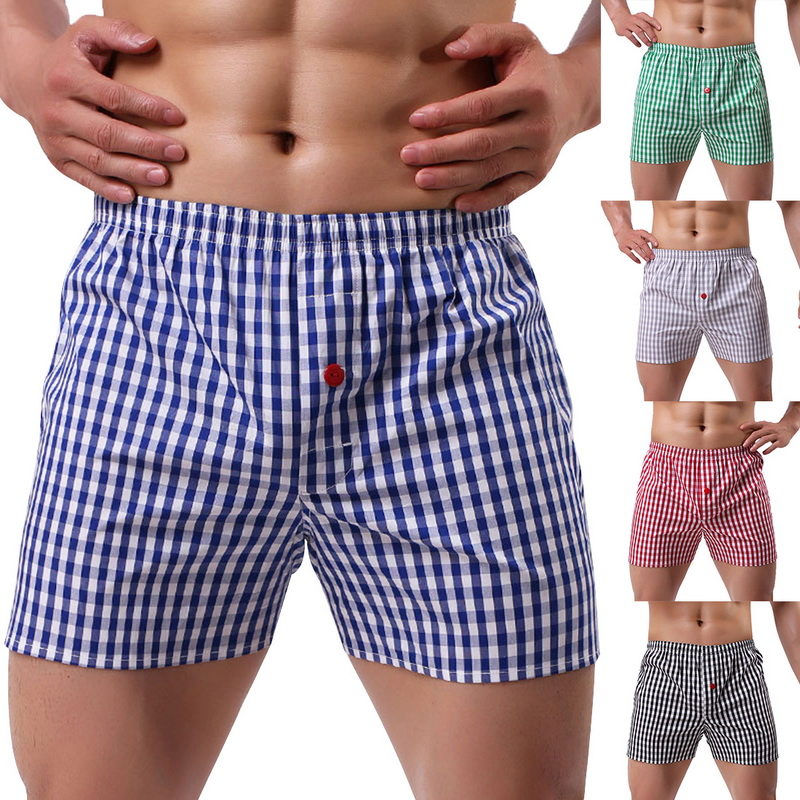 New High Quality Brand Underpants Men's Boxer Home Shorts Classic Plaid Combed Male Loose Breathable Oversize Family Panties