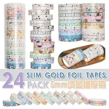 24pcs/pack Multi-color foil Washi Tape Scrapbooking Decorative Adhesive Tapes Paper Japanese Stationery Slim washi tape set