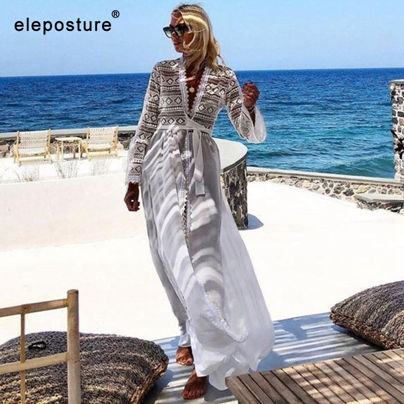 2020 New Sexy Beach Cover Up Women Hollow Out Beach Dress Long Tunics Bikini Swimsuit Cover Up White Cardigan Summer Beach Wear