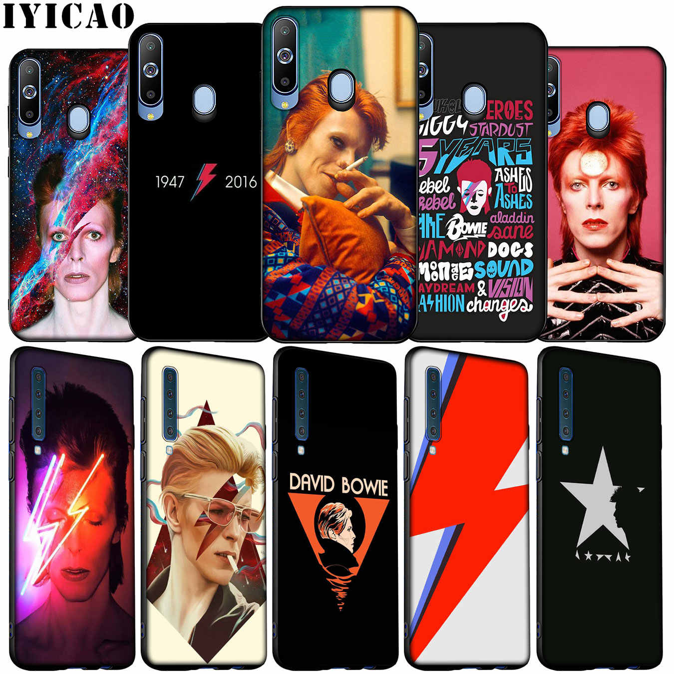 IYICAO mode David Bowie Weiche Silikon Fall für Samsung Galaxy A70 A50 A60 A40 A30 A20 A10 M10 M20 M30 m40 A20E Schwarz Abdeckung