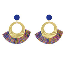 FIAZIA New Boho Tassels Earrings For Women Jewelry Bijoux Large Bohemian Dangle Earrings Pendants Circle European Design Earring цены