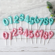 1 Pcs New Birthday Balloon Candle Pink Blue Candle Birthday Cake Decoration 0 9 Number Candle Kids Favors Birthday Party Decor