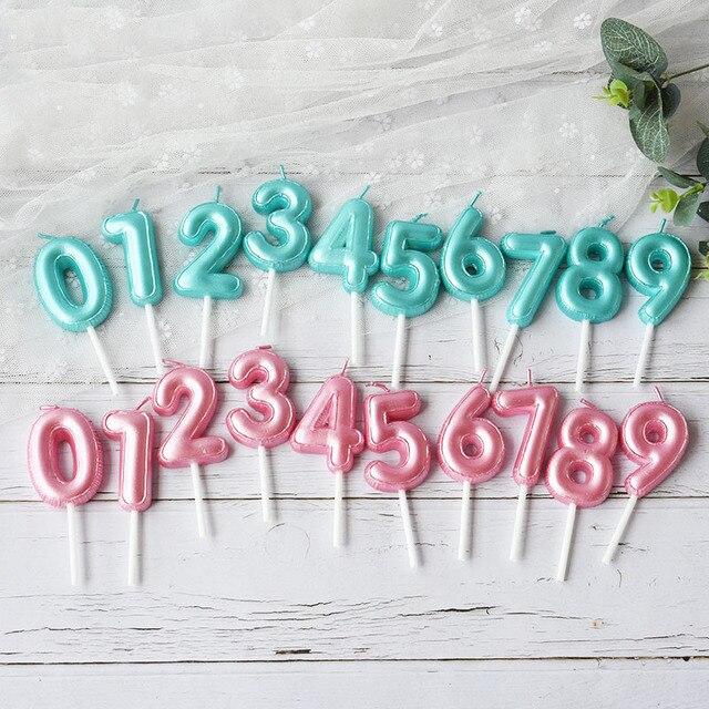 1 pcs 새로운 생일 풍선 촛불 핑크 블루 캔들 생일 케이크 장식 0 9 번호 촛불 아이 생일 파티 장식을 선호한다