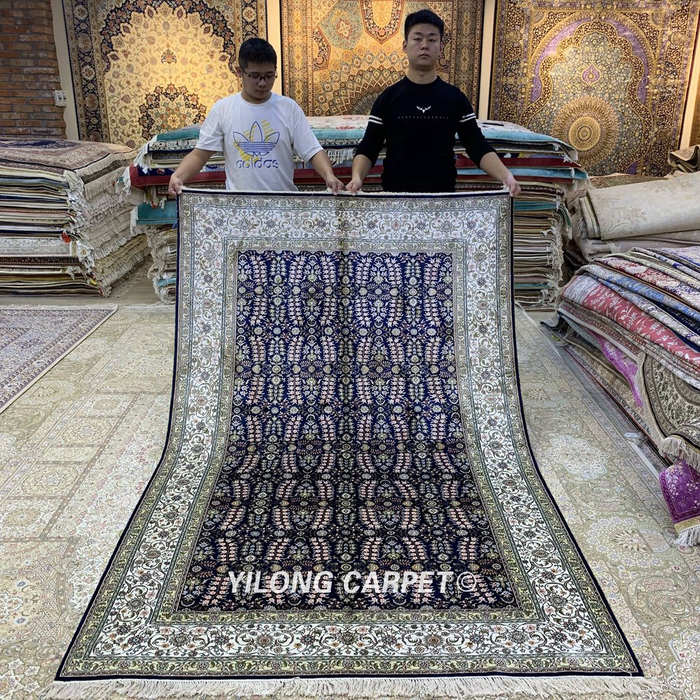 YILONG 5'x8 'persan fait main tapis de soie bleu artisanat exquis tapis fleuri (HF325B)