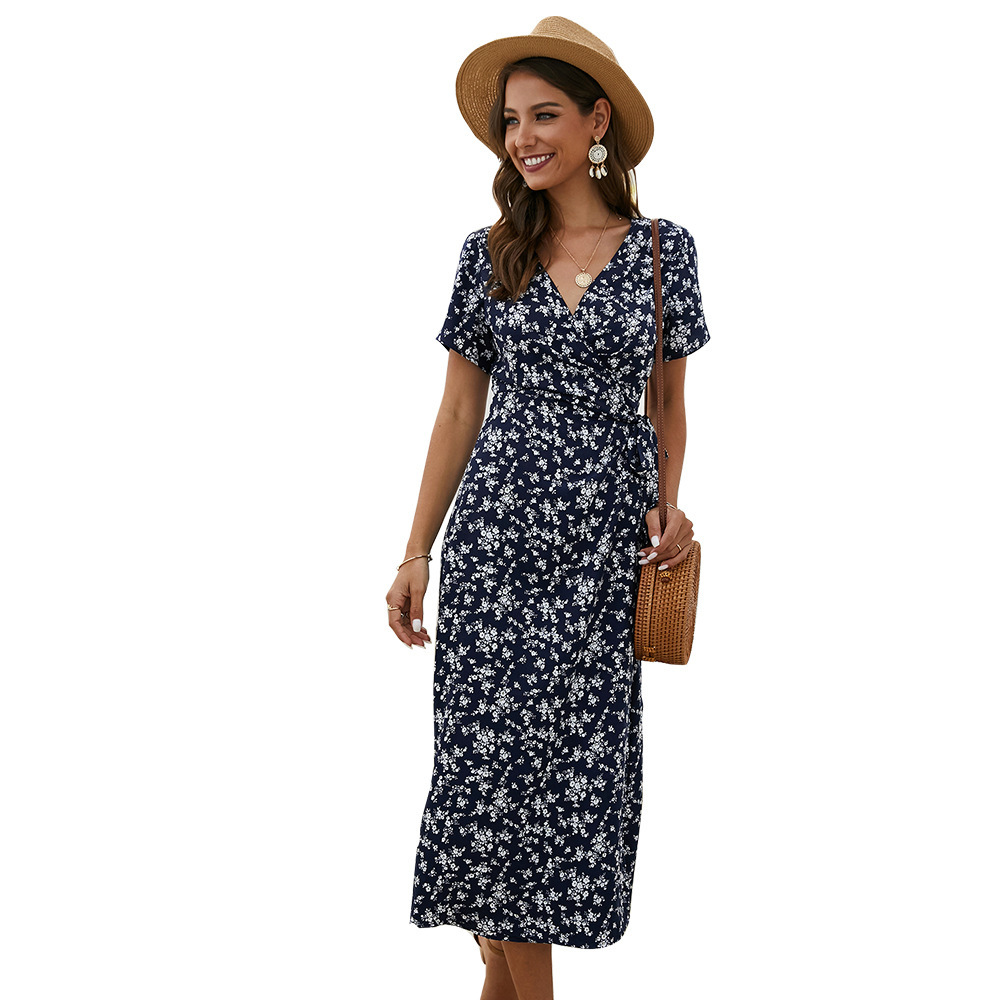Elegant Floral Printed Boho Dress A-Line Ruffles V-Neck Short Sleeve Bow Sashes Ruched Midi Dress Women Casual Summer Dress 2020 4