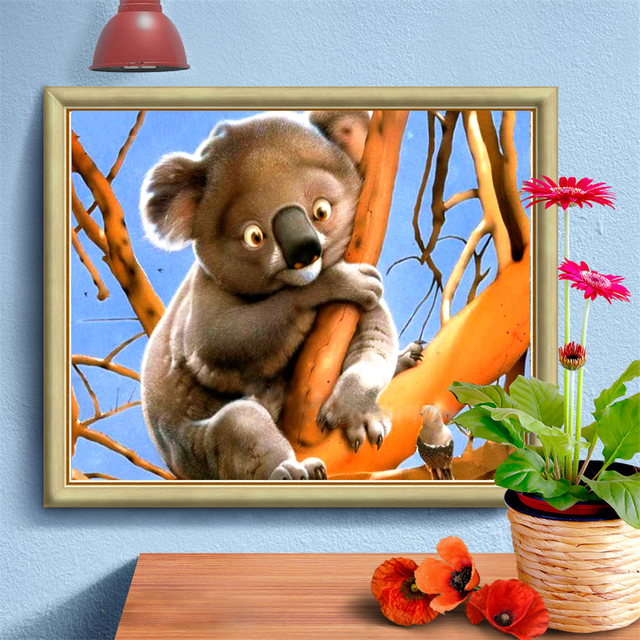 HUACAN Full Square Diamond Painting Koala Animal Home Decoration Embroidery Picture Handcraft Mosaic Art Kit